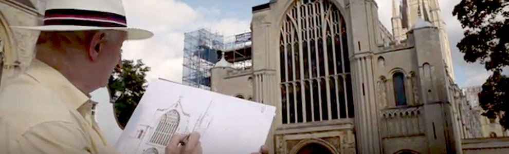 John drawing Norwich Cathedral