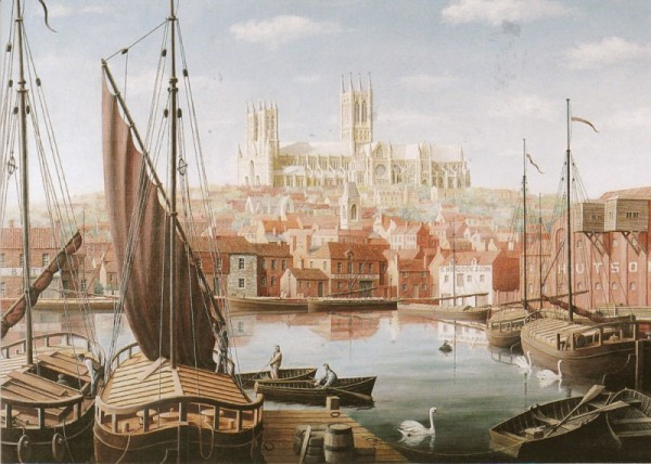 Lincoln Cathedral from Brayford, Lincolnshire (Colour) Image